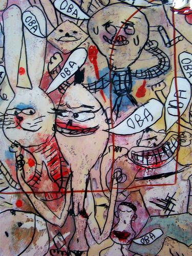 detalhe de obra de Fabio Zimbres na expo Noz na Fita, na galeria Fita Tape.